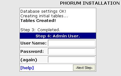 Phorum Installation Admin