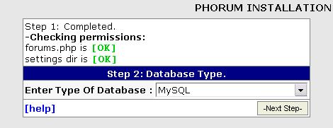 Phorum Installation Database - 2